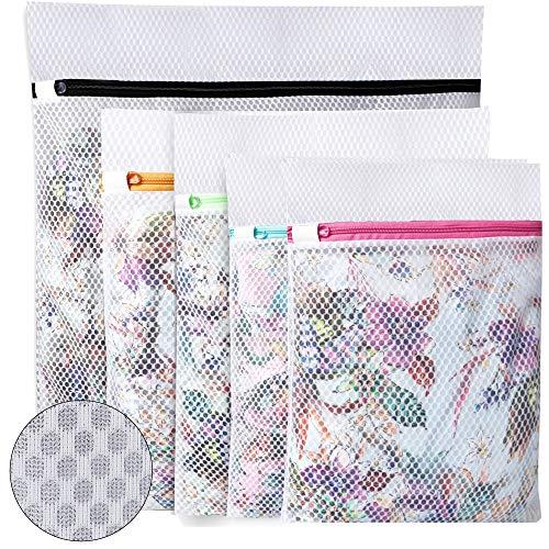 UMI. by Amazon - Bolsas para la colada de malla de panal para almacenar o lavar blusas delicadas, calcetería, ropa interior y sujetador, bolsas de lavandería para organización de viajes, 5 piezas