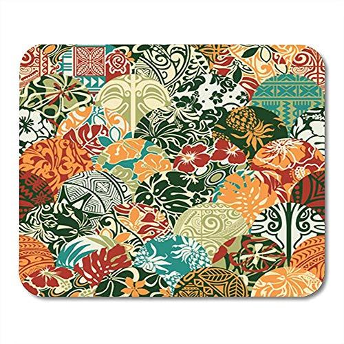 Mausepad Beach Hawaiian Patchwork Pattern Tribal Abstrakter Antiker Teppich Exotic Gaming Mauspad Rutschfeste 25X30Cm Dekor Mousepad Büro Gummi-Unterlage Mauspad
