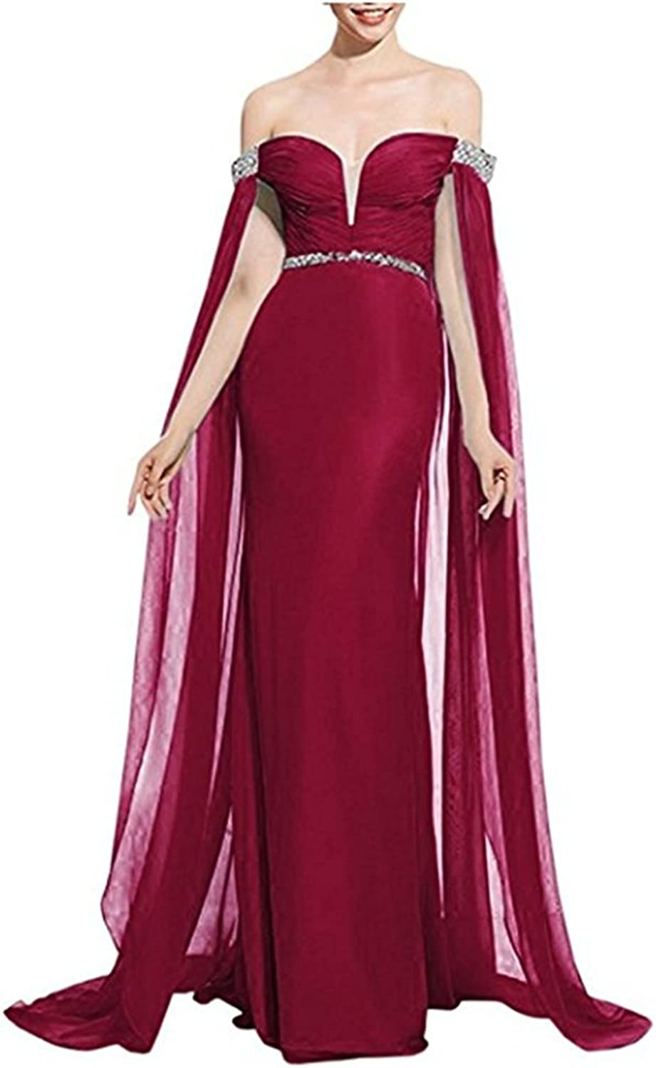 Beilite Off Shoulder Beaded Prom Dress Cloak Formal Party Gown