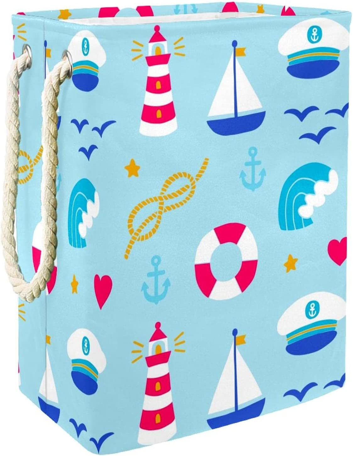 Clothes Basket Laundry Hamper Lighthouse Discount mail order Nautical Excellent with Handles