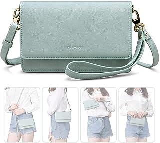 1cc280d1e0f415 nuoku Women Small Crossbody Bag Cellphone Purse Wallet with RFID Card Slots  2 Strap Wristlet(