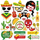 Mexican Fiesta Photo Booth Props,Cinco De Mayo Mexican Party Favors, Perfect for MexicanThemed Party, Mexican Fiesta Theme Party Favor Supplies Decorations (30 Count)
