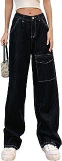 SMIMGO Pantalones vaqueros rectos de cintura alta para mujer, pantalones vaqueros holgados, pantalones casuales de pierna ...