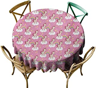 W Machine Sky Tassel Tablecloth Nursery,Cute Unicorns Standing on Clouds with Rainbows and Stars on a Pink Skyline,Pink Yellow White Diameter 54