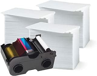 Fargo 45000 Color Ribbon - YMCKO - 250 Prints with Bodno Premium CR80 30 Mil Graphic Quality PVC Cards - Qty 300