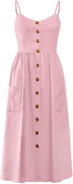 Elegant Striped Women Summer Plus Size Dress Buttons Strap Cotton Midi Dress Casual Ladies Beach