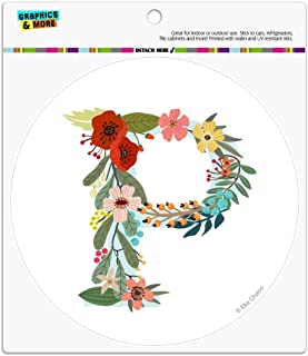 Graphics and More Letter P Floral Monogram Initial Automotive Car Refrigerator Locker Vinyl Circle Magnet