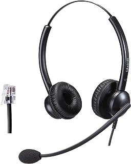 Telefon Headset mit Mikrofon Noise Cancelling, Stereo Büro CallCenter Festnetztelefonen Kopfhörer mit RJ11 und 3.5mm Klinke für Avaya 1608 1616 9601 9620 9630 9640 9670 J139 und Handy PC Laptops