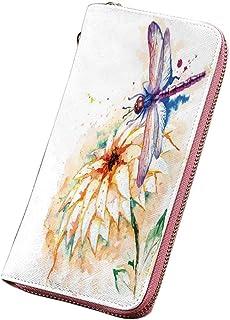 トンボ 个性 財布 レディース 長財布 スケッチスタイルのタンポポの花の花びら春の美しさ自然花画像装飾 カード納 取り出しやすい 小銭入れ ラウンドファスナー ライムグリーンクリーム