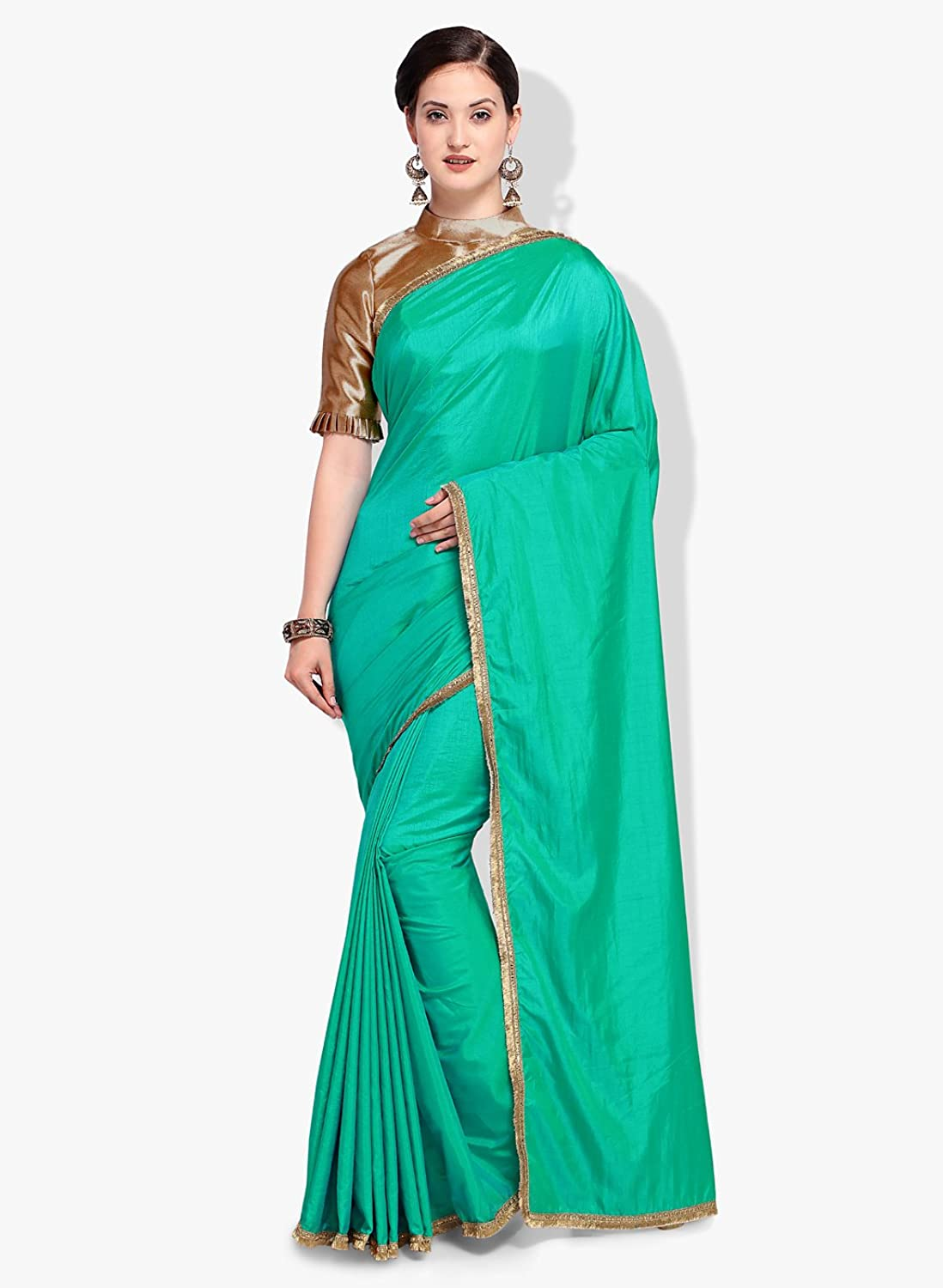 Inddus Green Solid Saree with Unstitched Blouse piece
