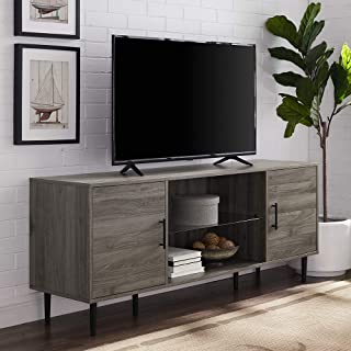 """Walker Edison Mid Century Modern Wood Universal Stand for TV`s up to 65"""" Flat Screen Cabinet Door and Shelves Living Room ..."""