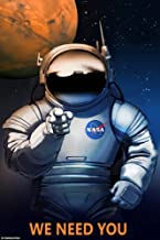 Astronaut We Need You Job on Mars Moon NASA Spaceship Travel Sci-Fi Vintage Poster Repro (16