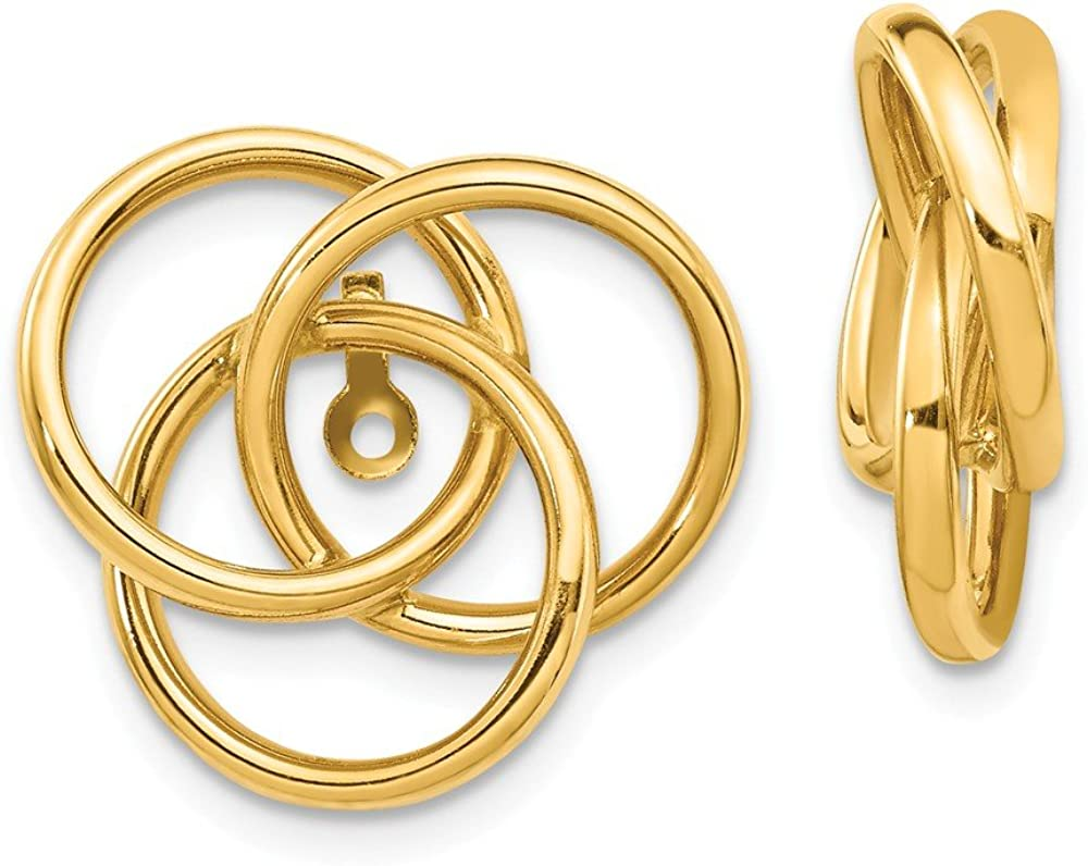 Solid 14k Yellow Gold Love Knot Earring Jackets - 16mm x 17mm
