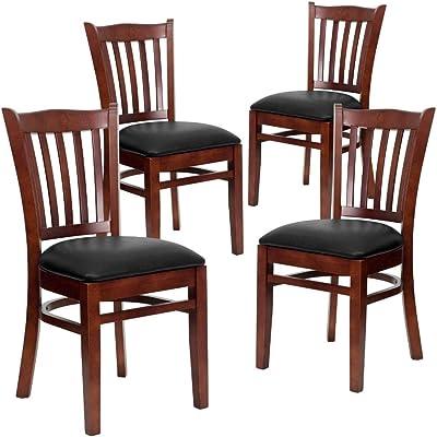 Flash Furniture 4 Pk. HERCULES Series Vertical Slat Back Mahogany Wood Restaurant Chair - Black Vinyl Seat