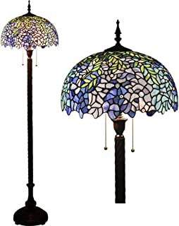 Style Floor Standing Lamp 63 Inch Tall Purple Stained Glass Reading Floor Lamp 2 Light for Bedroom Living Room