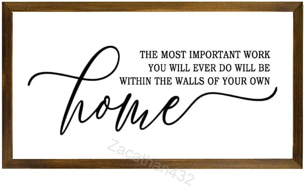 Zacathan432 Wood Framed Farmhouse Wall Decor Signs The Most Important Work You Will Ever Do Rustic Wooden Sign for Kitchen, Bathroom, Living Room, 12