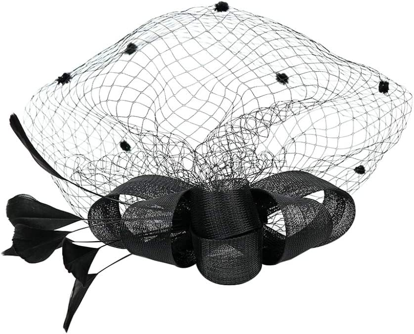 Sanwooden Elegant Fascinator Hair Clip Retro Cocktail Tea Party Fascinators Hat Feather Mesh Hair Clip Women Headwear Hair Ornaments