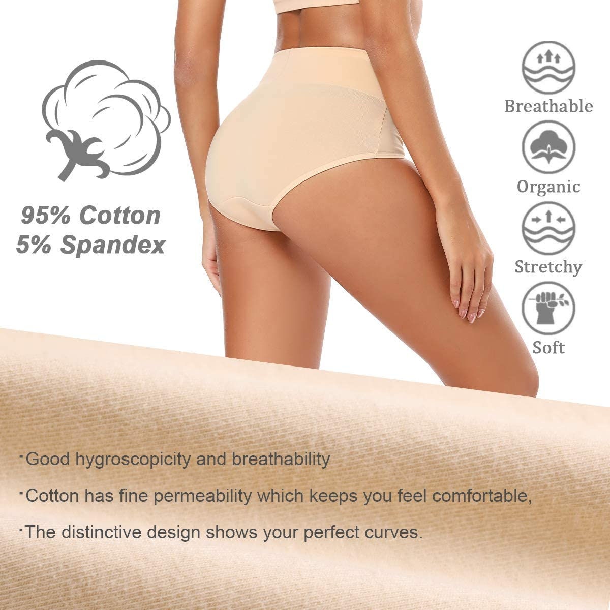 S-5XL Molasus Womens Cotton Underwear High Waisted Full Coverage Ladies Panties