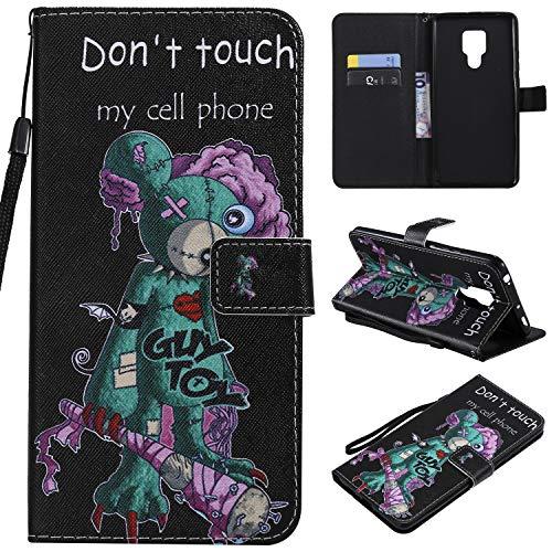 nancencen Kompatibel mit Handyhülle Huawei Mate 20 X Hülle, Painted Individuellkeit PU Leder Tasche Schutzhülle Hülle [Don't Touch My Cell Phone]