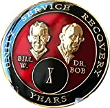 Recuperación de menta 10 años Red Bill & Bob Tri-Plate Alcohólicos Anónimos Medallón (AA Sobriety Chip)