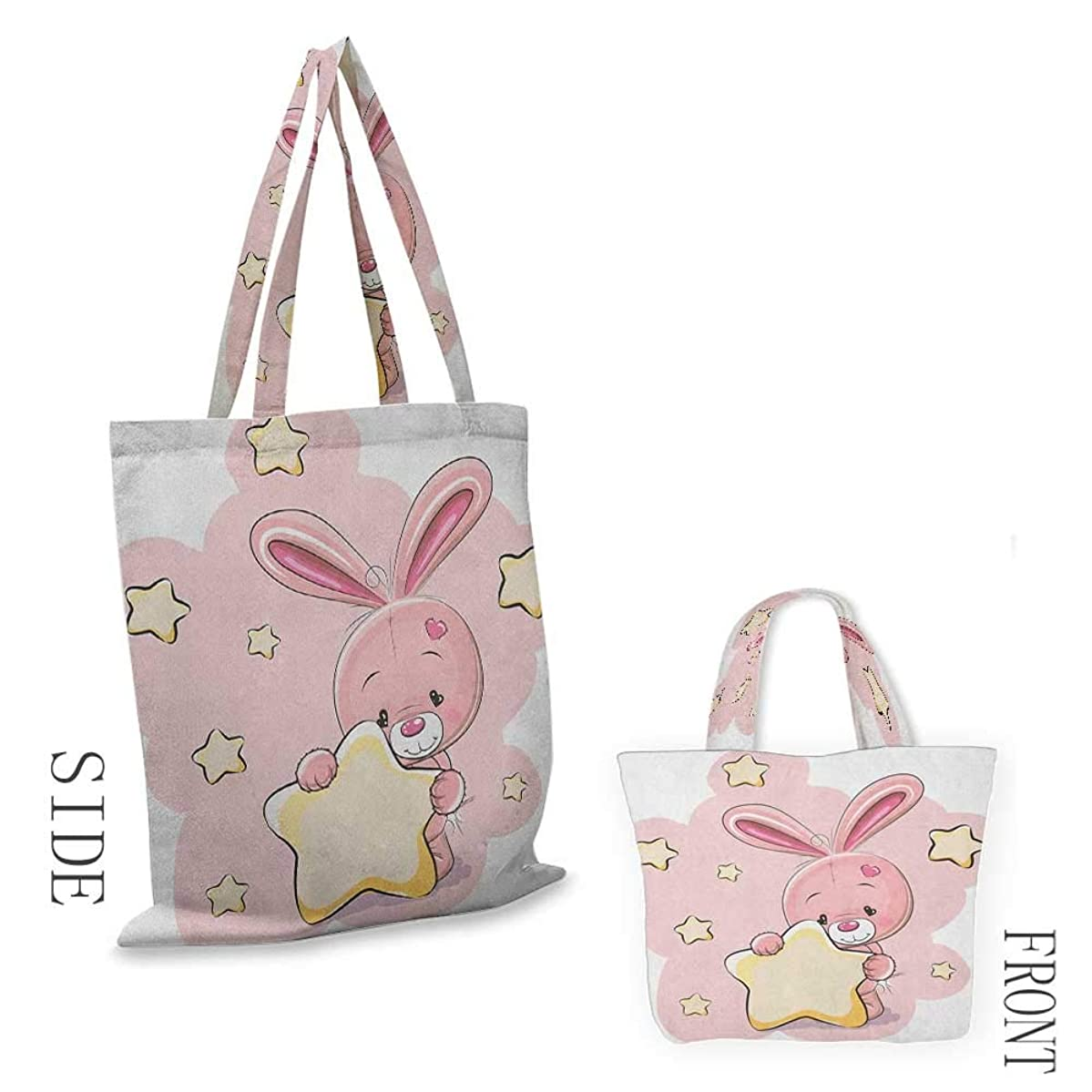 """shopping tote bag Teen GirlsRabbit Bunny with Star Figure Art For Birthday Celebrations Baby Shower Theme Pink Yellow18""""W x 16""""H"""