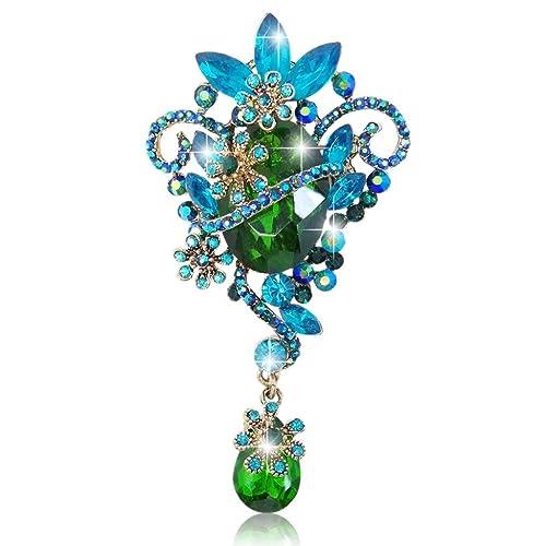 EVER FAITH Wedding Flower Ribbon Tear Drop Clear Austrian Crystal Pendant Brooch