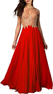 Womens Halter Prom Dress Long 2020 Embroidered Chiffon Bridesmaid Evening Gown