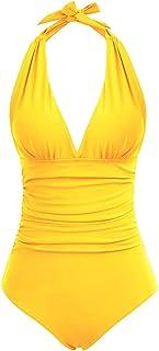 Zexxxy Costume da Bagno Intero da Donna Monokin Imbottiti con Scollo a V Profonda con Scollo Profondo