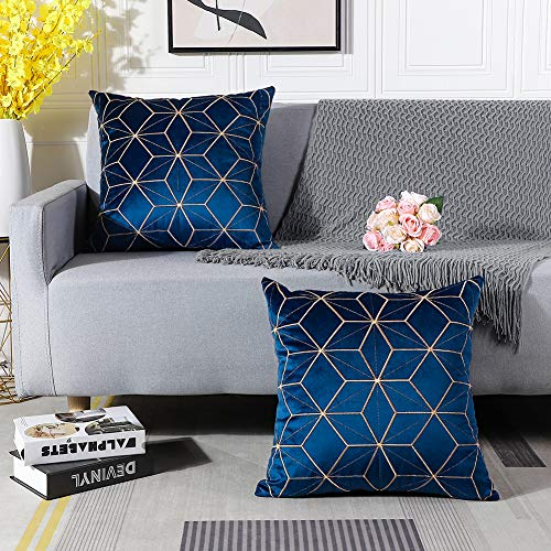 Artscope Pack of 2 Velvet Soft Soild Cushion Covers Decorative Geometric Golden Line Square Throw Pillow Covers Cases for Sofa Couch Bed Modern Home 45x45CM, Navy Blue