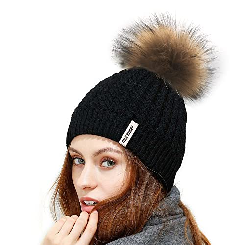 0c8862ce41d JULY SHEEP Womens Girls Winter Crochet Knit Hat Wool Knitted Beanie with Pom  Pom Bobble Ski