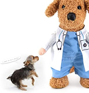WORDERFUL Dog Cat Doctor Nurse Costume Pet Doctor Clothing Halloween Jeans Outfit Apparel