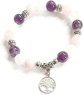 Bracelet lithothérapie, pierres de lune, améthyste, quartz rose, douceur,amour, amitié, calme du foyer