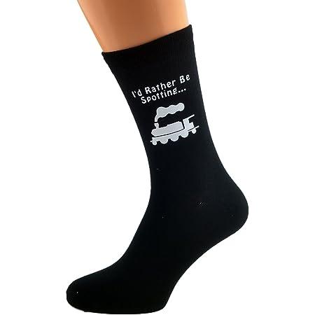 I'd Rather be Spotting Trains with Train Image Design Mens Black Cotton Rich Socks