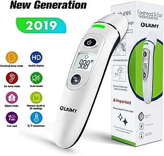Termómetro para bebés, termómetro de frente y oído LIUMY, termómetro médico digital infrarrojo 5 en 1, para bebés, niños, adultos, ancianos, con alarma de fiebre, bolsa con cordón, baterías incluidas