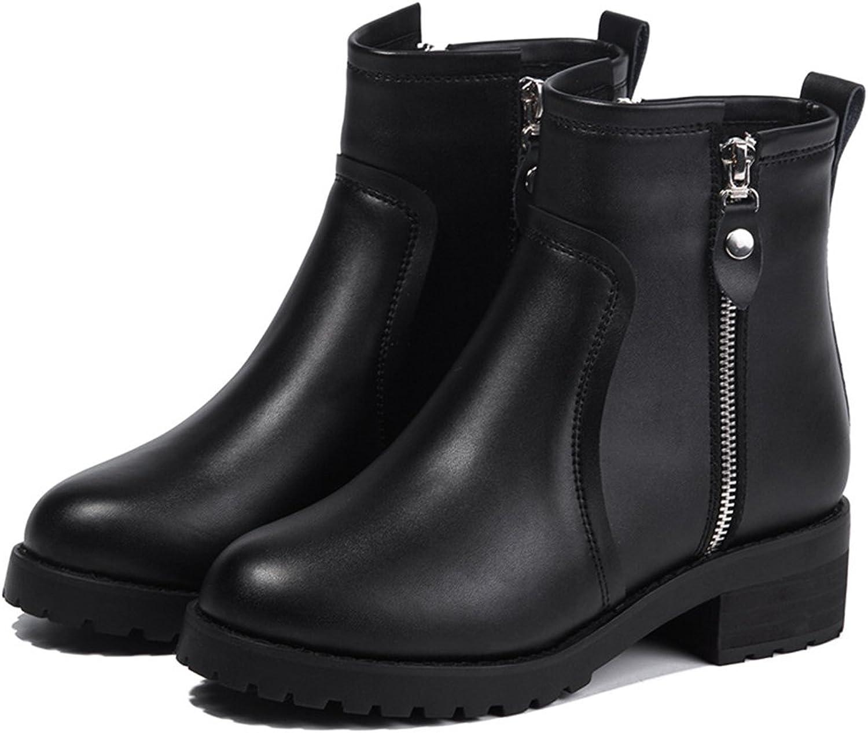 BININBOX Women's Classical Leather Zipper Short Boots Black