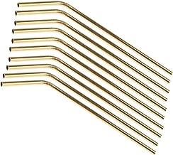 Baoblaze Gold Bent Stainless Steel Drinking Straw Metal Straw 10 PCS 21cm
