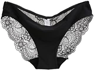 Women Seamless Cotton Lace Underwear, Witspace Ladies Briefs Panties-Extended Size Breathable Comfortable (Black, M)