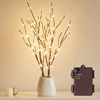 Fudios Lighted Branches 18IN 70 Warm White LED with Timer Twig Lights Battery Operated for Christmas Wedding Party Decoration