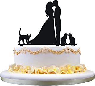 Wedding cake topper-kissing couple,3 cute pet cats