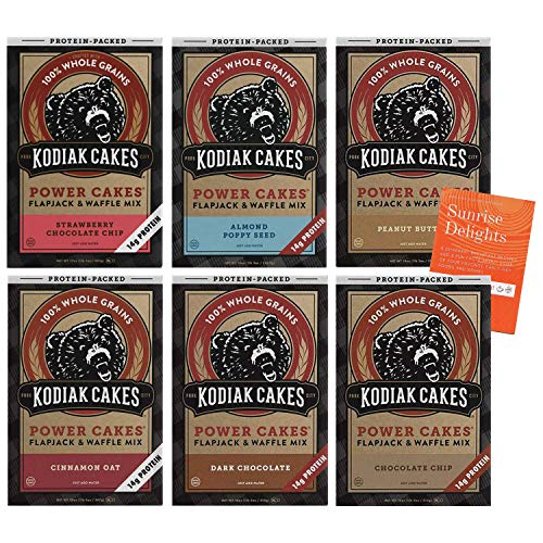 Kodiak Cakes Power Cakes Variety Pack - 6 Flavors Included - Strawberry Chocolate, Cinnamon Oat, Chocolate Chip, Almond Poppyseed, Dark Chocolate, Peanut Butter + Bonus Fun Facts and Recipes Booklet!