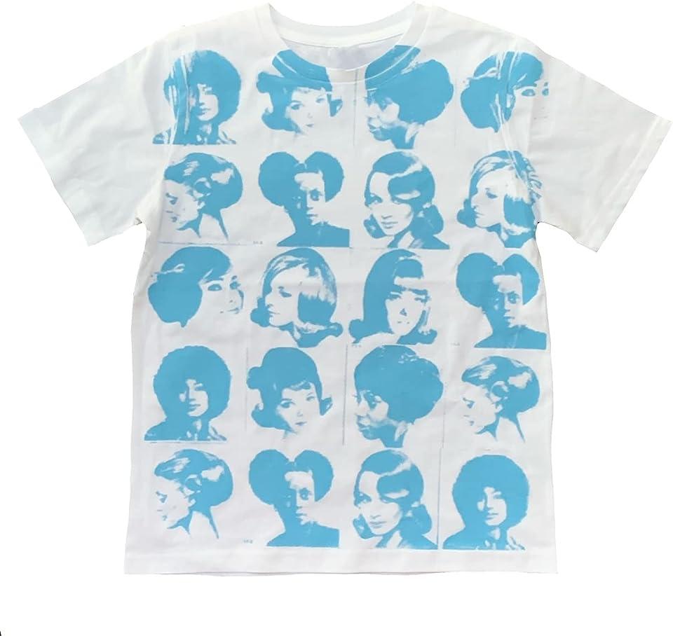 Women Vintage Graphic Tees Teen Girls Y2k T Shirts Summer Slim Fit E-Girl Short Sleeve Portrait Print Top Streetwear (White&Blue, Large, l)