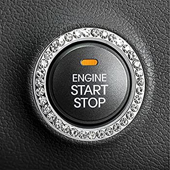 EcoNour Bling Push Start Ring | Push to Start Accessories | One Click Start Button to Personalize The Interior | Bling Car Accessories for Women | Push Start Button Cover | Car Accessories Decoration