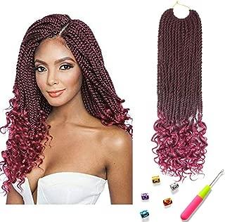 Senegal Twist Curly Goddess Crochet Hair Synthetic Hair Extension Senegalese Twist Hair Crochet Braids 18inch 6Packs 30Strands/Pack (18inch, T1B/burgundy)
