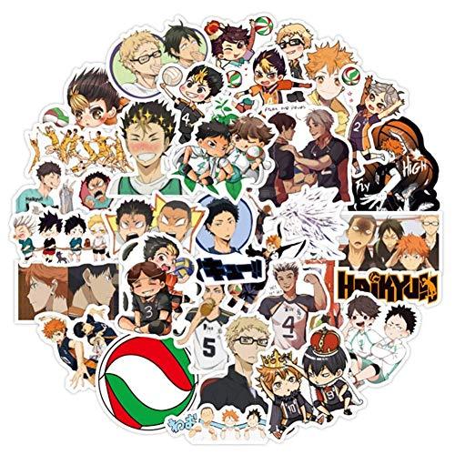 Zhenzhiao Sticker Haikyuu 50Pcs Anime Haikyuu Laptop Sticker von Japanisches Anime Wasserfest Wasserflasche Computer - 50Pcs Haikyuu