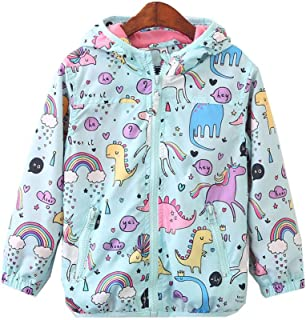 Toddler Girls Cartoon Unicorn Autumn Fleece Lined Rain Coat Jacket Hoodies