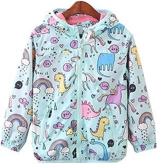 CX.AZUL Toddler Girls Cartoon Unicorn Autumn Fleece Lined Rain Coat Jacket Hoodies