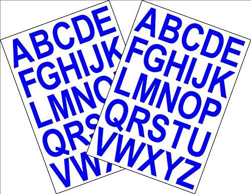 2x A5 Selbstklebende Folie mit Buchstaben-Buchstaben Höhe 3,5 cm mit rückseitigem Kleber auf dem Computer, blau