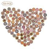 100Pcs Bottoni Artigianali in Legno, Bottoni in Legno Bottoni a Motivo Circolare con 2 Fori per Bottoni Vintage Bottoni per Cucito fai-da-te Accessori Accessori Bottoni colorati