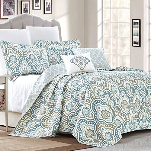 Home Soft Things Serenta Tivoli Ikat Design 5 Piece Teal Aqua Printed Prewashed Quilted Coverlet Bedspread Bed Cover Summer Quilt Blanket with Cotton Polyester Filled Embroidery Pillow Set, Oversize