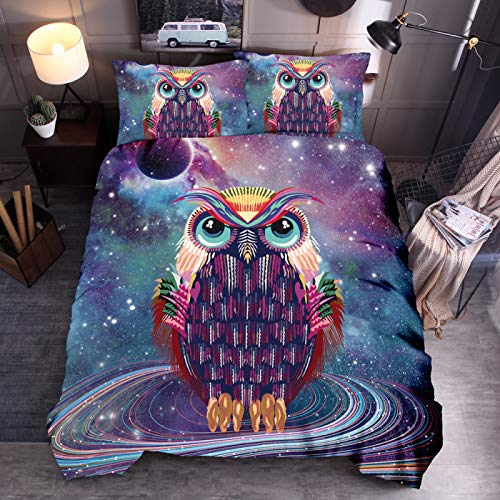 Feather duvet starry sky owl 3D bedding quilt cover pillowcase single double bed